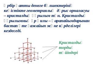 Кристалдық тордың түйіндері Әрбір қатты денеге бөлшектерінің кеңістікте геоме