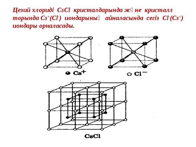 Цезий хлориді CsCl кристалдарында және кристалл торында Cs+(Cl-) иондарының а...