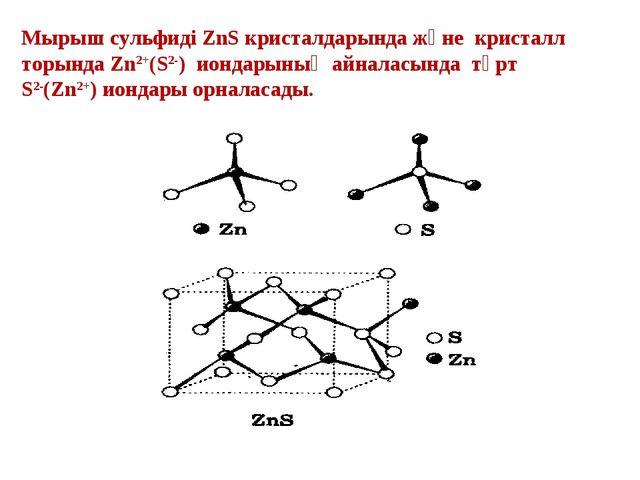 Мырыш сульфиді ZnS кристалдарында және кристалл торында Zn2+(S2-) иондарының...