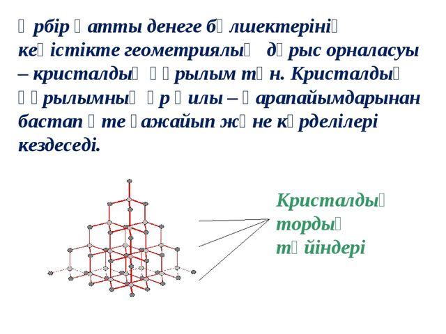Кристалдық тордың түйіндері Әрбір қатты денеге бөлшектерінің кеңістікте геоме...