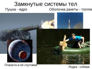 Замкнутые системы тел Пушка - ядро Оболочка ракеты - топливо Планета и её спу