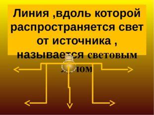 Линия ,вдоль которой распространяется свет от источника , называется световым