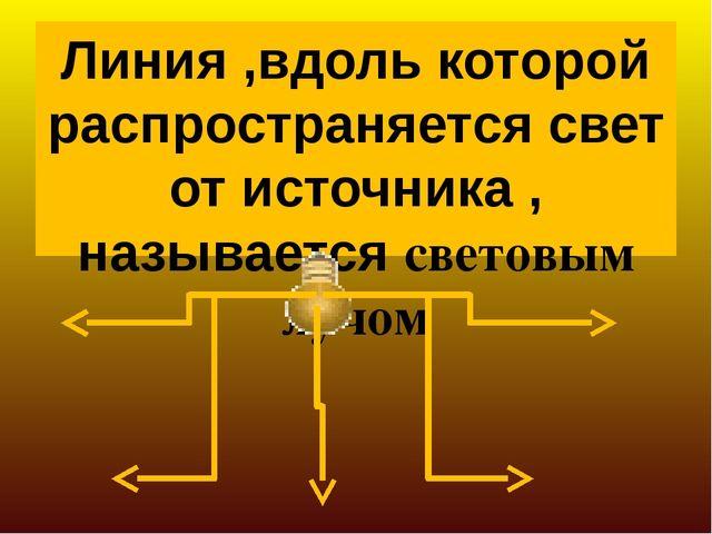 Линия ,вдоль которой распространяется свет от источника , называется световым...