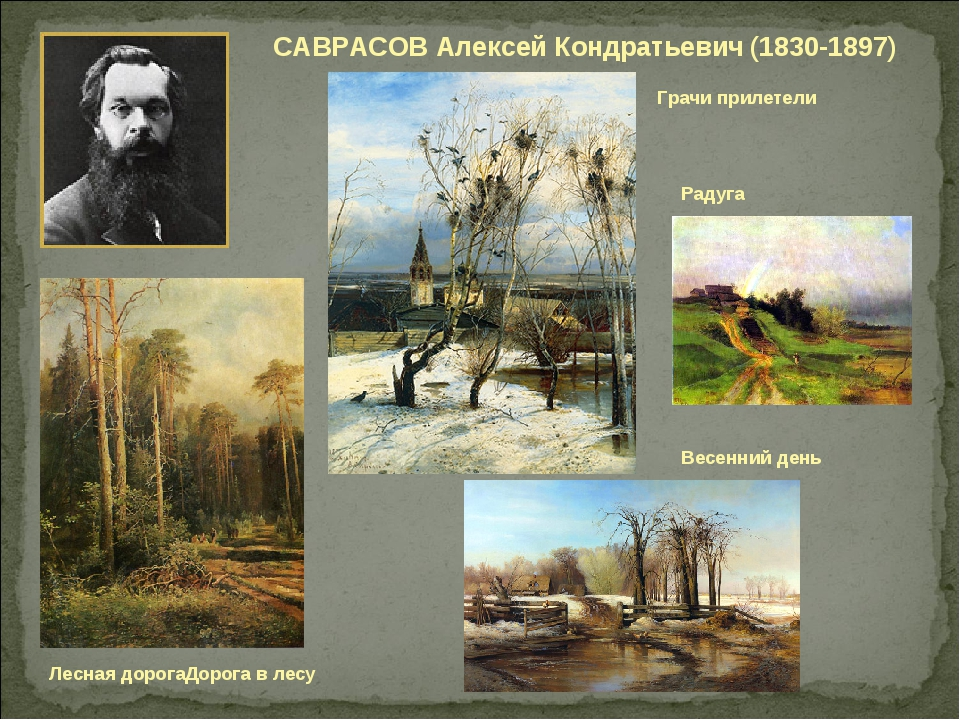 САВРАСОВ Алексей Кондратьевич (1830-1897) Радуга Грачи прилетели Лесная дорог...