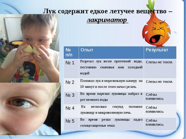 Лук содержит едкое летучее вещество – лакриматор №п/п Опыт Результат №1 Ра...