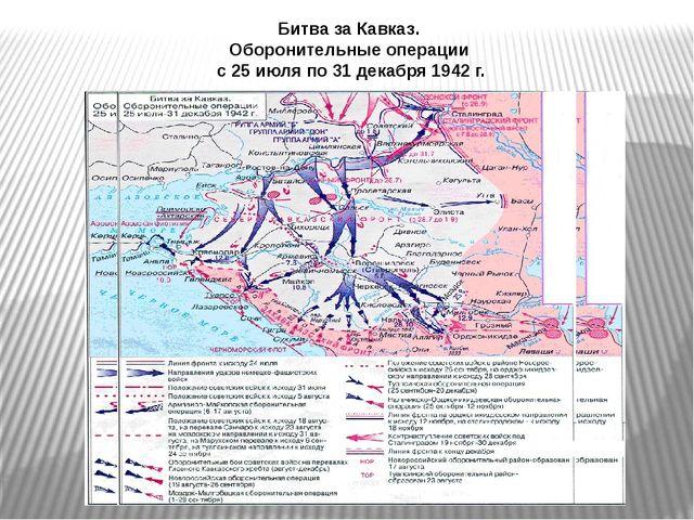 Битва за Кавказ. Оборонительные операции с 25 июля по 31 декабря 1942 г.