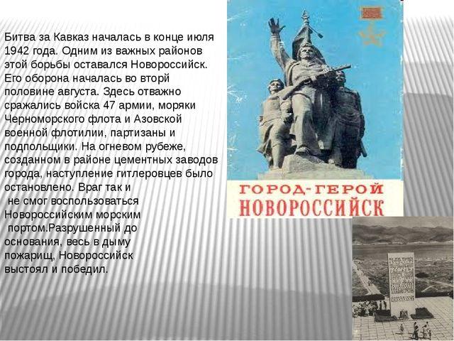 Битва за Кавказ началась в конце июля 1942 года. Одним из важных районов этой...