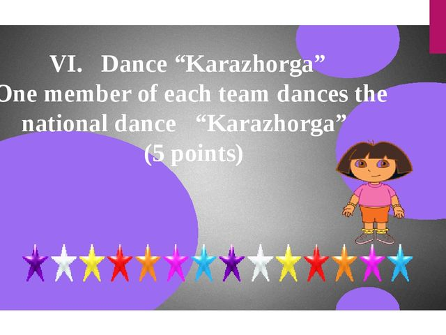 "VI. Dance ""Karazhorga"" One member of each team dances the national dance ""Kar..."