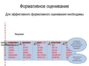 Формативное оценивание Для эффективного формативного оценивания необходимы Ре