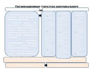 Организационная структура критериального оценивания Обратная связь в направле