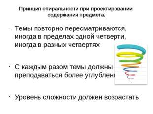 Принцип спиральности при проектировании содержания предмета. Темы повторно пе