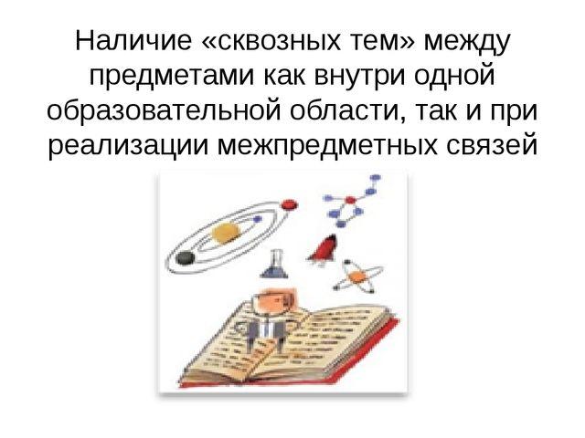 Наличие «сквозных тем» между предметами как внутри одной образовательной обла...
