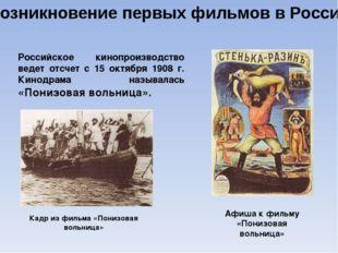 Возникновение первых фильмов в России Российское кинопроизводство ведет отсче