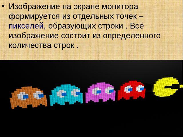 Изображение на экране монитора формируется из отдельных точек – пикселей, обр...