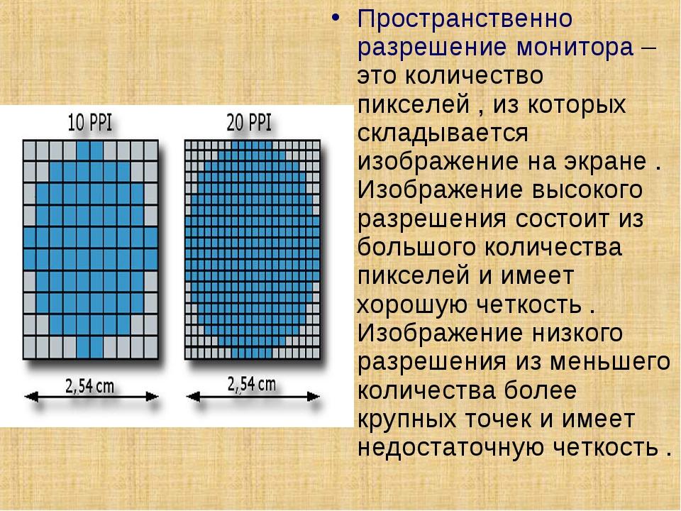 Пространственно разрешение монитора – это количество пикселей , из которых ск...