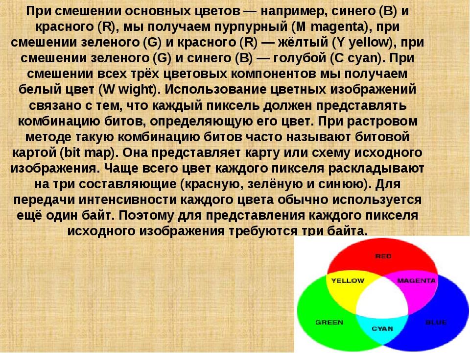 При смешении основных цветов — например, синего (B) и красного (R), мы получа...