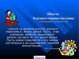 Школа будущего первоклассника (организация ее деятельности) «Школа не должна