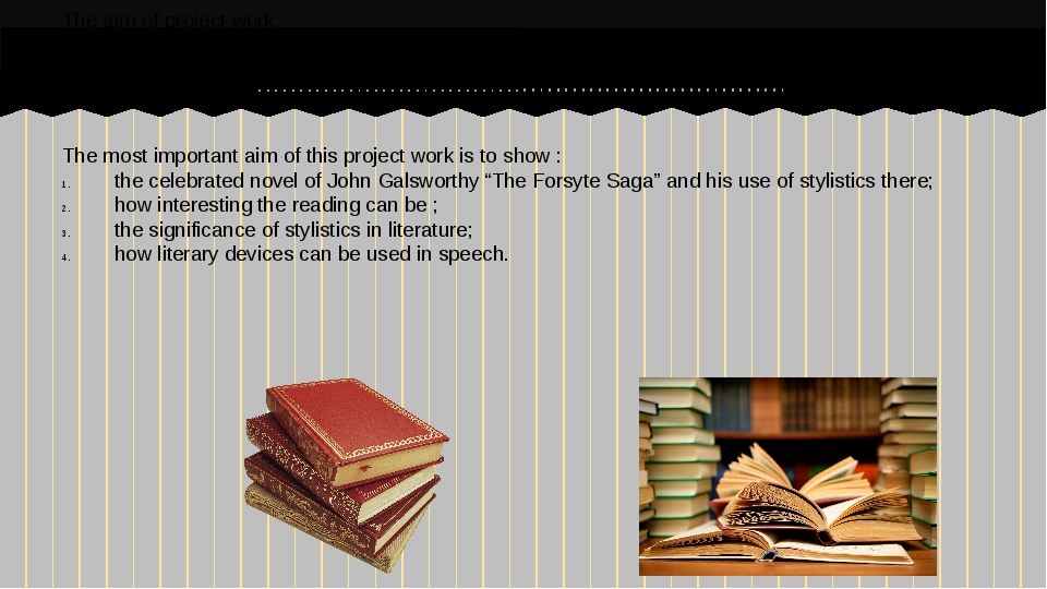 The most important aim of this project work is to show : the celebrated novel...