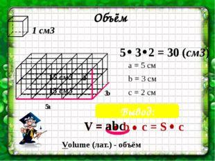 1 см3 Объём 5 3 15 см3 15 см3 2 a b c Вывод: а = 5 см b = 3 см c = 2 см V = a