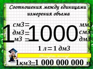 1000 Соотношения между единицами измерения объема 1 см3 = = = дм3 м3 мм3 см3