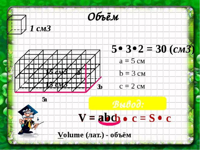 1 см3 Объём 5 3 15 см3 15 см3 2 a b c Вывод: а = 5 см b = 3 см c = 2 см V = a...