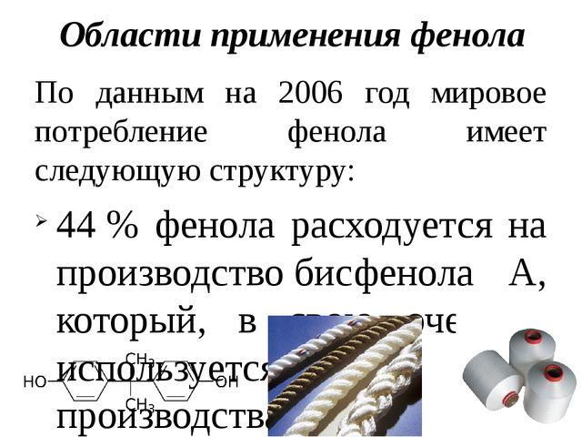 Области применения фенола По данным на 2006 год мировое потребление фенола им...