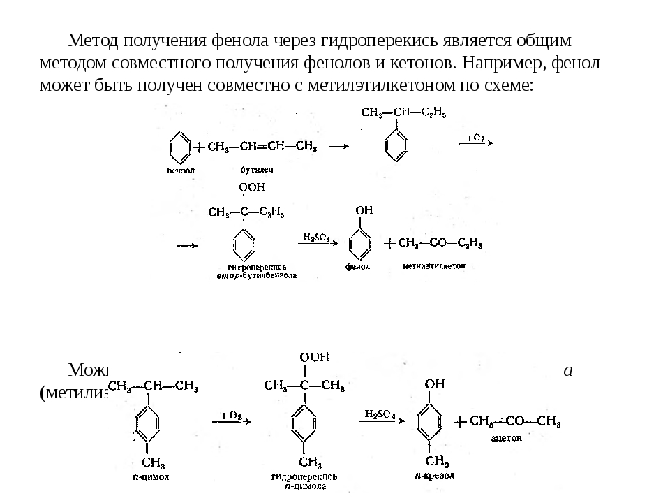 Метод получения фенола через гидроперекись является общим методом совместного...