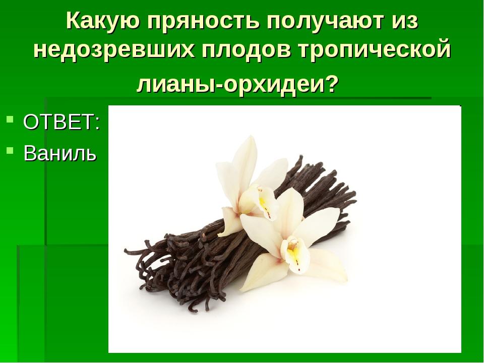 Какую пряность получают из недозревших плодов тропической лианы-орхидеи? ОТВЕ...