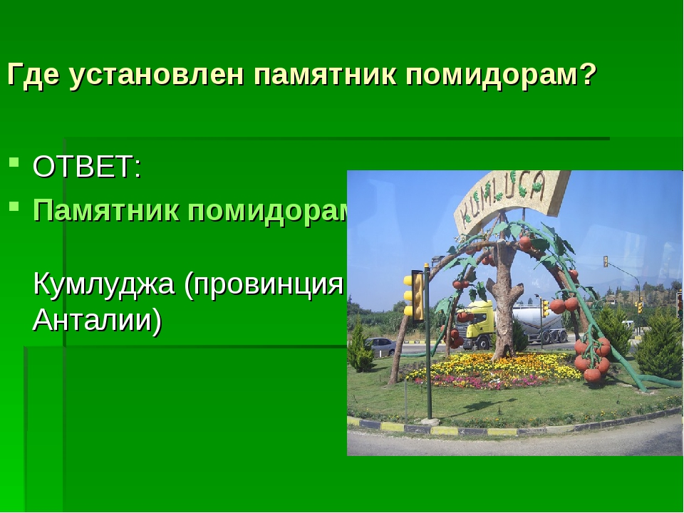Где установлен памятник помидорам? ОТВЕТ: Памятник помидорам Кумлуджа (провин...
