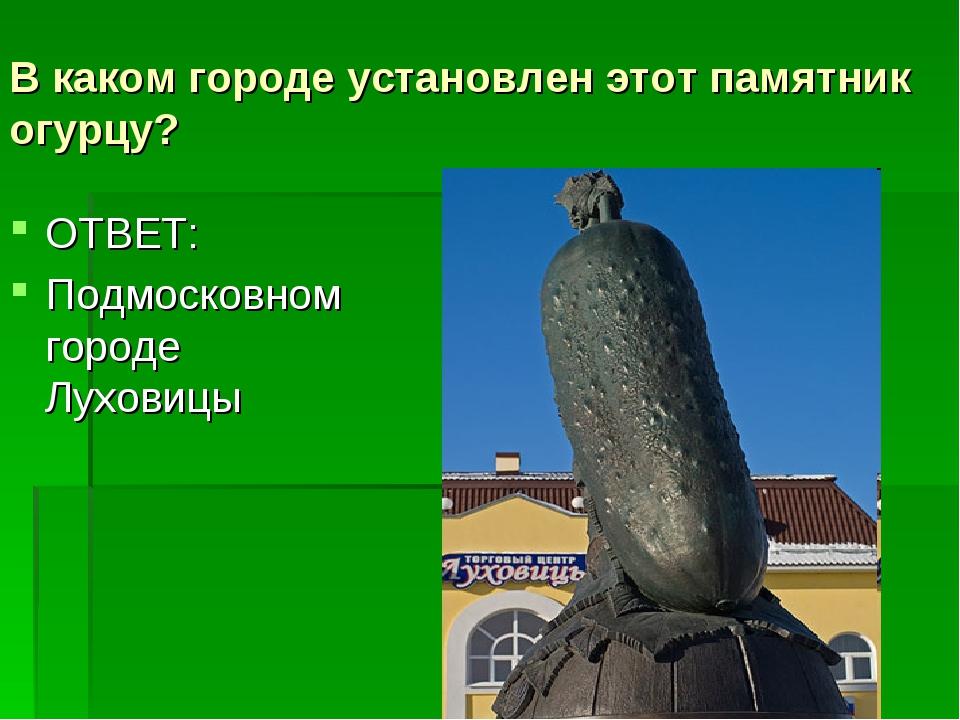 В каком городе установлен этот памятник огурцу? ОТВЕТ: Подмосковном городе Лу...