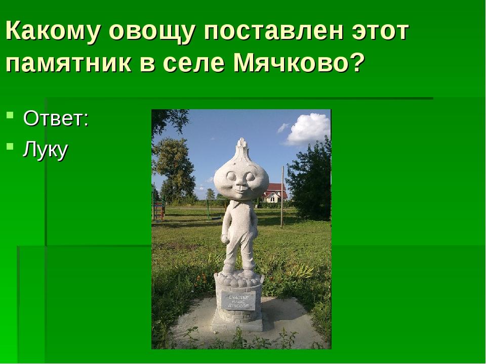 Какому овощу поставлен этот памятник в селе Мячково? Ответ: Луку