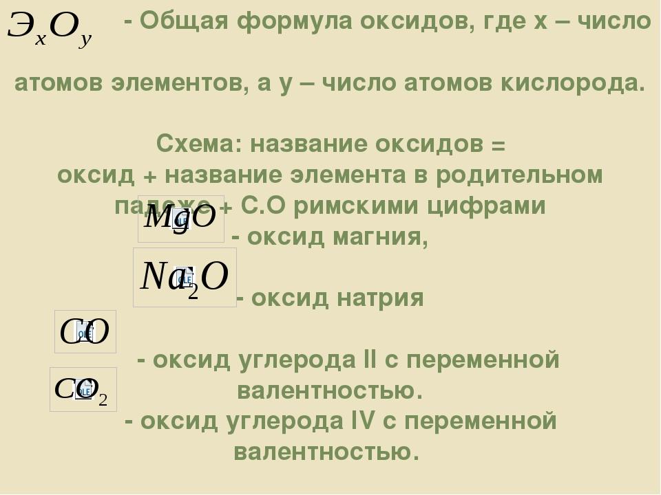 - Общая формула оксидов, где х – число атомов элементов, а у – число атомов...