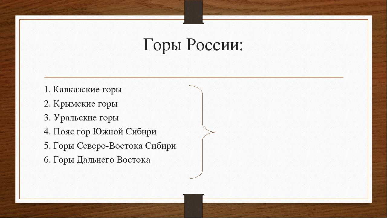 Горы России: 1. Кавказские горы 2. Крымские горы 3. Уральские горы 4. Пояс го...