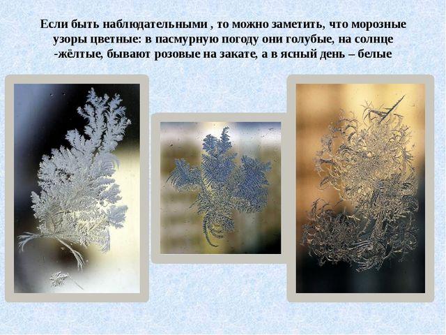 Если быть наблюдательными , то можно заметить, что морозные узоры цветные: в...