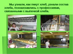 Мы узнали, как пекут хлеб, узнали состав хлеба, познакомились с профессиями,