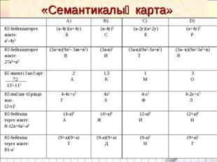 «Семантикалық карта» А)В) С) D) Көбейткіштерге жікте: а2-4у2 (а-4у)(а+4