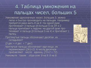 4. Таблица умножения на пальцах чисел, больших 5 Умножение однозначных чисел,