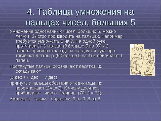 4. Таблица умножения на пальцах чисел, больших 5 Умножение однозначных чисел,...