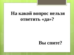 На какой вопрос нельзя ответить «да»? Вы спите?