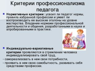Критерии профессионализма педагога Нормативные критерии: усвоил ли педагог но