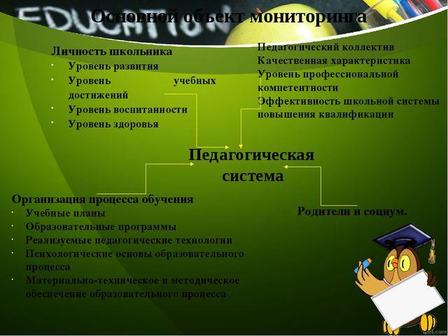 Основной объект мониторинга Личность школьника Уровень развития Уровень учебн...