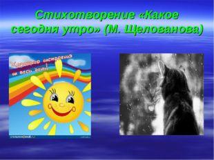 Стихотворение «Какое сегодня утро» (М. Щелованова)