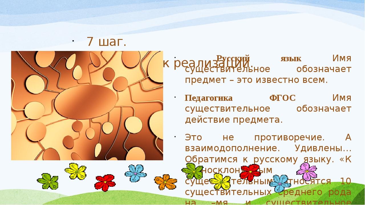 7 шаг. Приступить к реализации. Русский язык Имя существительное обозначает...