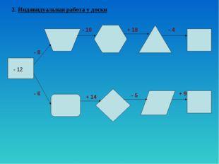 2. Индивидуальная работа у доски - 12 - 8 - 6 - 10 + 18 - 4 + 14 - 5 + 9