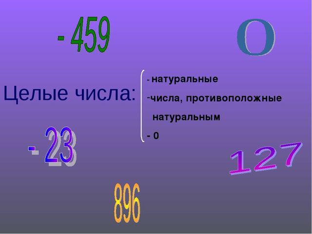 Целые числа: - натуральные числа, противоположные натуральным - 0