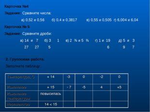 Карточка №4 Задание: Сравните числа: а) 0,52 и 0,56 б) 0,4 и 0,3817 в) 0,55 и