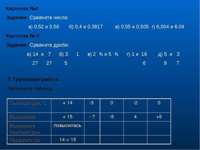 Карточка №4 Задание: Сравните числа: а) 0,52 и 0,56 б) 0,4 и 0,3817 в) 0,55 и...