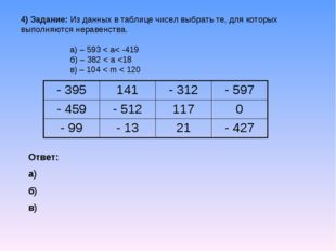 4) Задание: Из данных в таблице чисел выбрать те, для которых выполняются нер