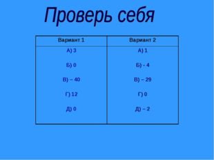 Вариант 1Вариант 2 А) 3 Б) 0 В) – 40 Г) 12 Д) 0А) 1 Б) - 4 В) – 29 Г) 0 Д)