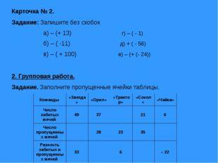 Карточка № 2. Задание: Запишите без скобок а) – (+ 13) г) – ( - 1) б) – ( -11